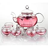 Jusalpha Glass Filtering Tea Maker Teapot with a Warmer and 6 Tea Cups Set (Version 2, 27-Oz)