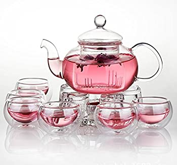 Jusalpha 27-oz Glass Teapot with Warmer