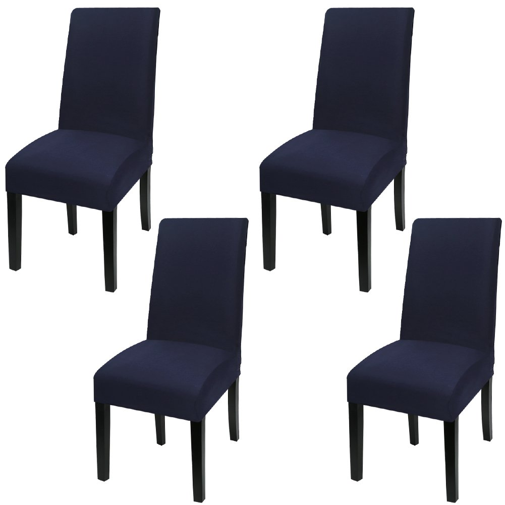 Fuloon Super Fit Stretch Jacquard Removable Washable Short Dining Chair Covers Seat Slipcover for Hotel,Dining Room,Ceremony,Banquet Wedding Party (4, Deep Blue)