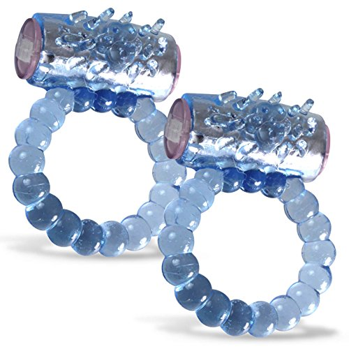 LeLuv Cock Ring Beaded Clitoris Tickler Disposable Vibrating Blue 2 Pack