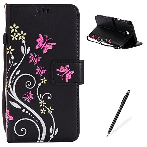 MAGQI Samsung Galaxy J7 Prime Case, Premium Slim Fit Flip PU Leather Stand Wallet Book Style Case with Card Slots Magnetic Closure Embossed Rose Flower Butterfly Pattern Cover - Black