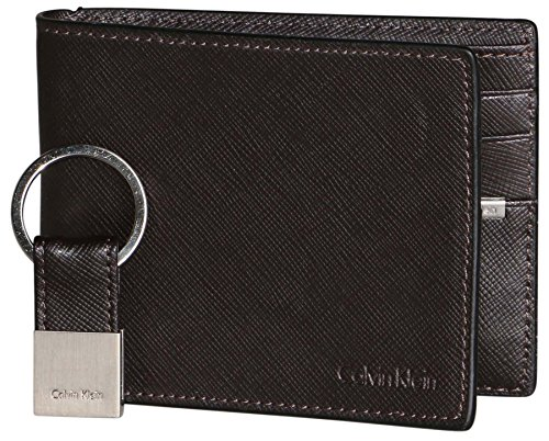 Calvin Klein Saffiano Embossed Leather Bifold Wallet   Key Fob Gift Set  (Brown) - Buy Online in UAE.  0d0df558d