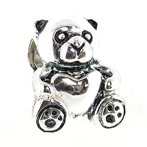 Heart Silver European Sterling Bead (Queenberry Sterling Silver Teddy Bear Heart European Bead Charm)