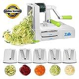 Spiralizer 5-Blade Vegetable Spiral Slicer Strongest Heaviest Duty, Best Veggie Pasta Spaghetti Maker for Healthy Low Carb/Paleo/Gluten-Free Meals With Extra Blade Caddy - by Zalik