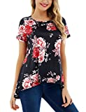 FISOUL Womens Summer Short Sleeve Floral Print Tops High Low Casual T-shirt Loose Fit Tunic Tops Black L