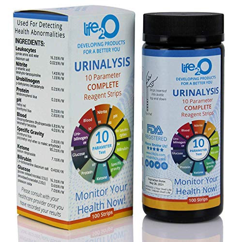 Complete 10-in-1 Urine Test Strips 100ct | Urinalysis Dip-Stick Testing Kit | Ketone, pH, Blood, UTI, Protein | Keto & Alkaline Diet, Ketosis, Kidney Infection & Liver Function | Free e-Book Included ()