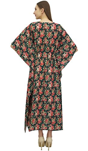 Long Beach Printed Caftan Dress Maxi Coverup Floral Women's Bimba Green Dark xtqwOTIq