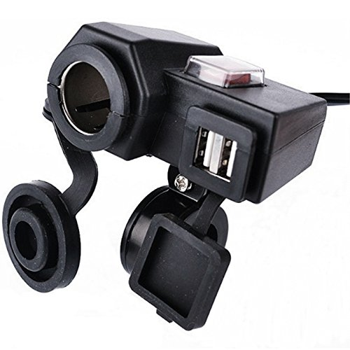 BreaDeep 5V/3.1A Dual USB Output Motorcycle Handlebar Cigarette Lighter Socket Power Port Adapter Charger Outlet with Switch Control Handle Bar Clamp Bracket - Black