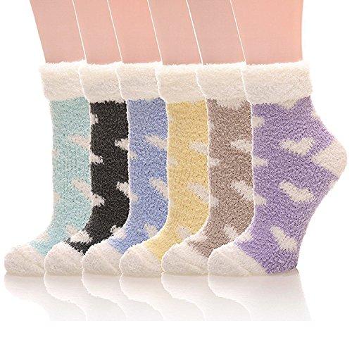 Fuzzy Warm Slipper Socks Women Super Soft Microfiber Cozy Sleeping Socks 6 or 5 Pairs