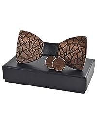 Amzchoice Elegant Handmade Black Walnut Mens Wood Bow Tie Wedding Bowtie