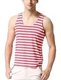 ZANLICE Men's Stretchable Stripe Tank tops Sport Tank Top
