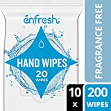 Enfresh Fragrance Free Naturally Derived Hand Wipes - Wipes Away 99.9% of Germs - 20 Count (Pack of 10, 200 Wet Wipes)