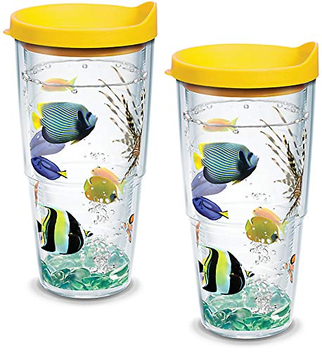 Tervis 1133379 Tropical Fish Tumbler with Wrap and Yellow Lid 2 Pack 24oz, Clear