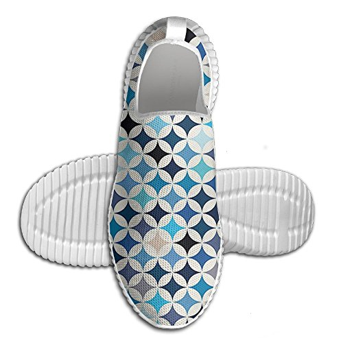 DiamondsJun Unisex Geometric Circles With Half Round Like Square Blue Tones Mix All Over 3D Printed Mesh Slip On Fashion Comfortable Shoes 45
