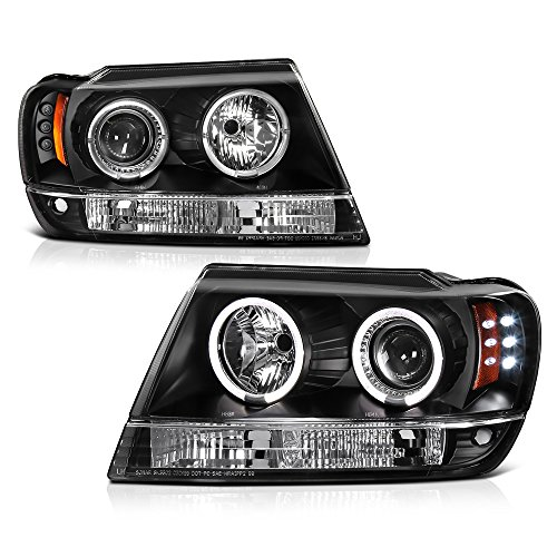 [For 1999-2004 Jeep Grand Cherokee] LED Halo Ring Black Housing Projector Headlight Headlamp Assembly, Driver & Passenger Side