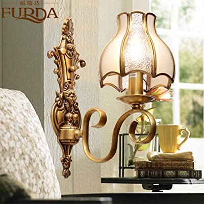 BL Modern retro Continental copper Wall lamp E26 warm bedroom nightstand mirror front lamp American walkway hallway staircase lighting 360280mm, Bathroom Mirror Lamps (110-120V)