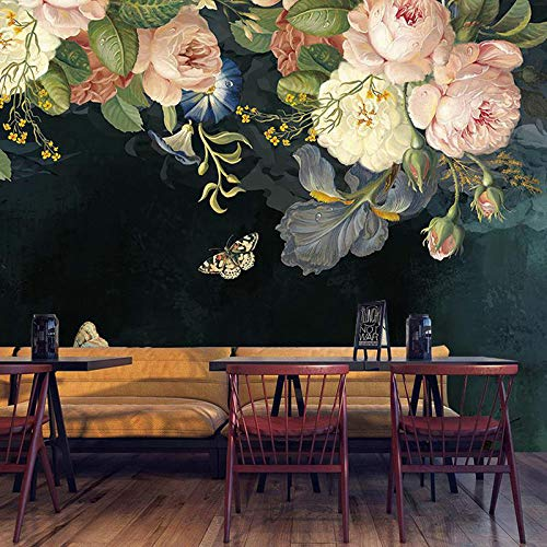 GMYANBZ 3D Wallpaper Silk Cloth Waterproof Canvas Murals Wall Painting Pastoral Floral Flower Oil Painting Black Mural Wallpaper ()