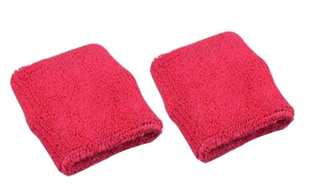 Cdet 1Par Pulsera de Entrenamiento algodón Banda de Sudor de muñeca Deportes Baloncesto Wristband Sweatband Interior al Aire Libre Yoga Dance Ejercicio,Rojo