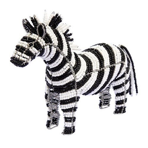 Grass Beadworx (Grass Roots Creations Zebra Beadworx Sculpture, Black and White)