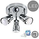 Contemporary Sleek Style Silver Chrome Adjustable 3 Way Round Plate Ceiling Spotlight - Complete with 5w LED GU10 Bulbs [3000K Warm White]