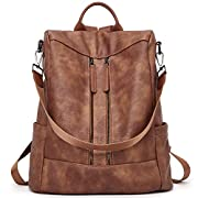 BROMEN Women Backpack Purse Leather Anti-theft Travel Backpack Fashion Shoulder Handbag