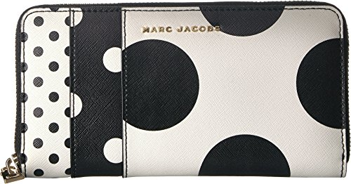 Saffiano Metal Letters Polka Dot Standard Continental Wallet White Multi One Size ()
