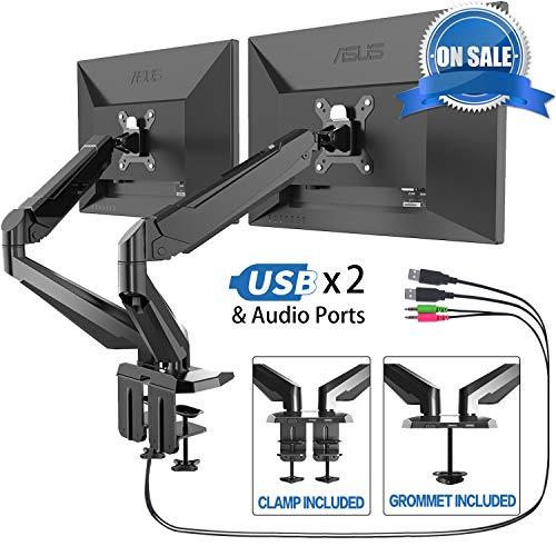 Dual Arm Monitor Stand - FEZIBO Adjustable Full Motion Monitor Mount Monitor Arm, C Clamp/Grommet Mount for 2 Screens from 17