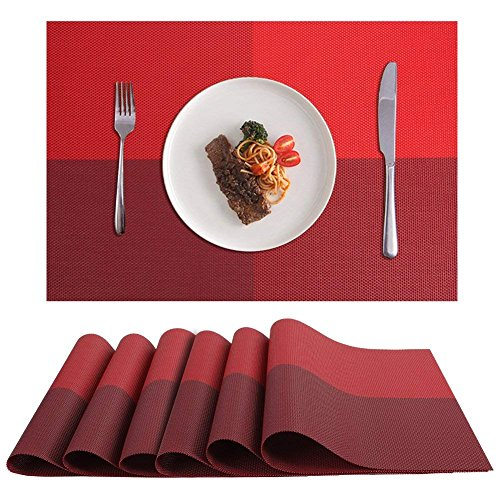 Akway Placemats Set of 6 Washable Table Mats Cup Mat Heat/Stain Resistant Place Mats for Dining Table, Red CD2-HONG-6