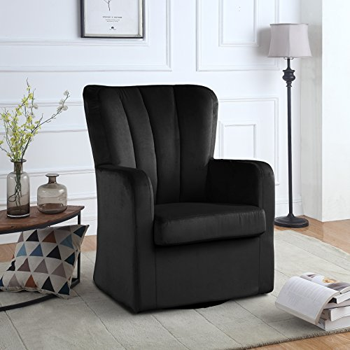 Modern Velvet Swivel Armchair, Rotating Accent Chair for Living Room with Pleated Back (Black) Velvet Fabric Upholstered Swivel Chair