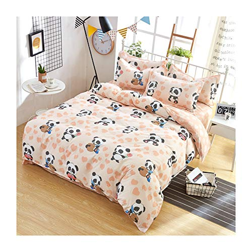 KFZ Bed SET Bedding Duvet Cover Set Flat Sheet Pillowcases 4pcs/set No comforter SM Queen Sheets Set Panda Zoo Garden Sweet Strawberry Animal Fruit Design Kids Adults (Panda Zoo, Pink, Queen, 79