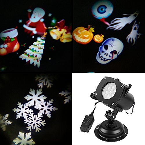 [SENQIAO Projector Light 12 Pattern LED Landscape Light Waterproof Garden Lamp Projection Lighting for Halloween, Christmas, Holiday, Party, Garden] (Halloween Lighting)