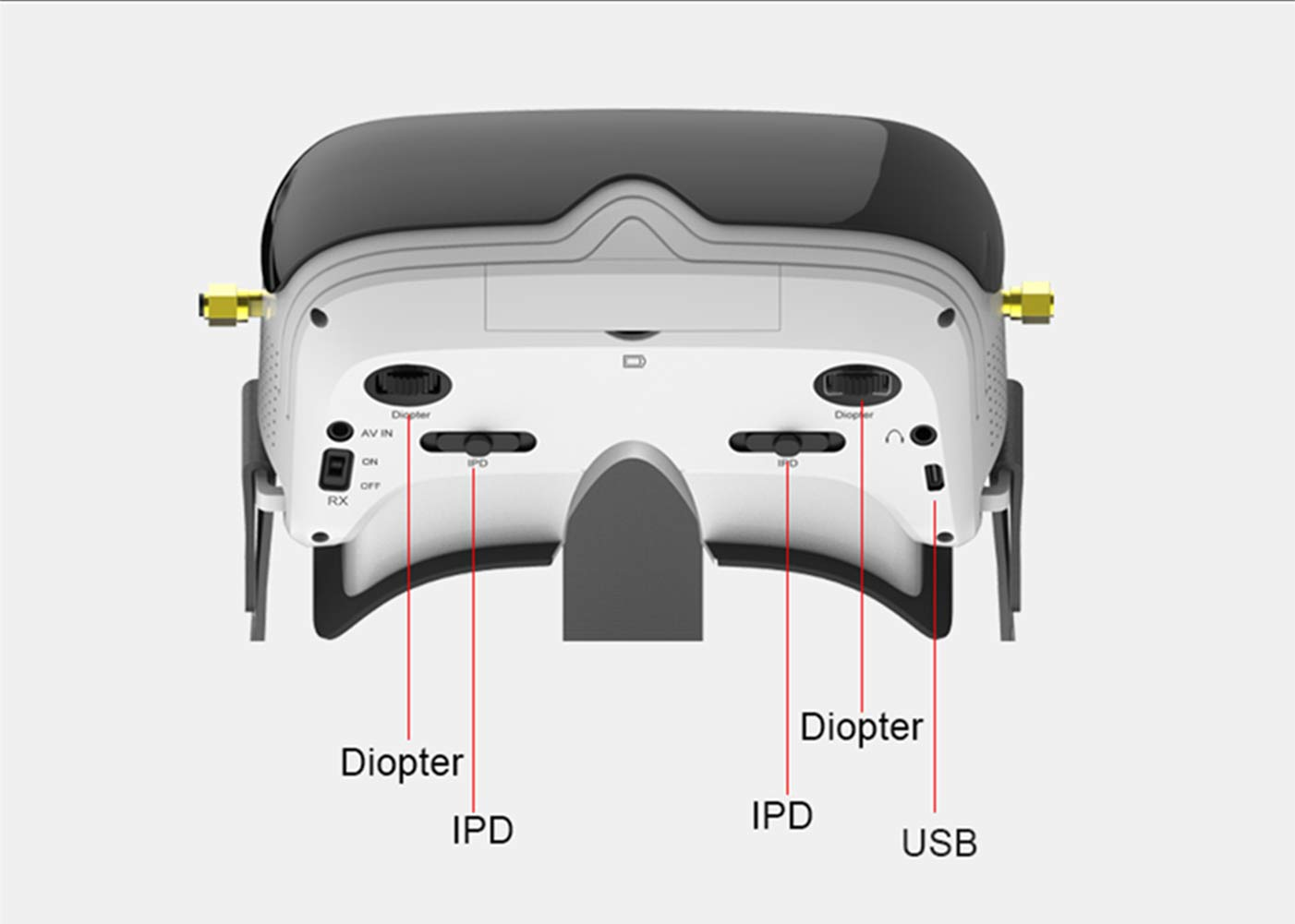 TOPSKY Prime1S FPV Goggles Headplay Glasses 5.8G 48CH Raceband Dual Modules DVR Headset FPV Receiver Kit with Eyepatch for Quadcopter Racing Drone