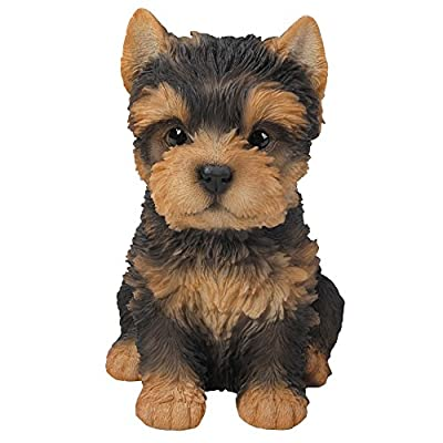 Adorable Seated Yorkshire Terrier Puppy Yorkie Collectible Figurine Amazing Dog Likeness Hand Painted Resin 6.5 inch Figurine Great for Dog Lovers Tabletop Decor