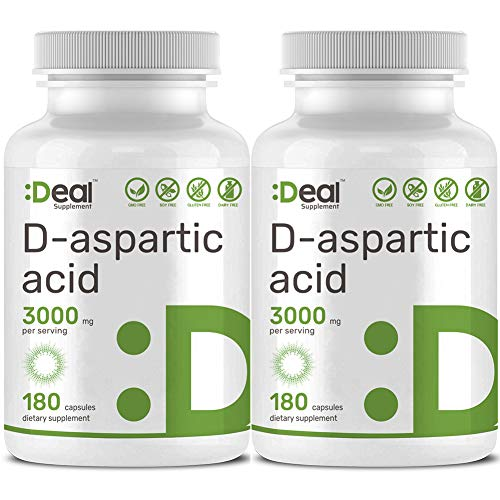 2 Pack Deal Supplement D-Aspartic Acid, 3000mg Per Serving, 180 Capsules, Testosterone Booster, Non-GMO