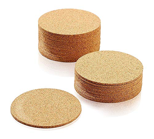 Set of 24 Cork Bar Drink Coasters - Absorbent and Reusable - Tan - 4-Inches, 1/8-Inch Thick -