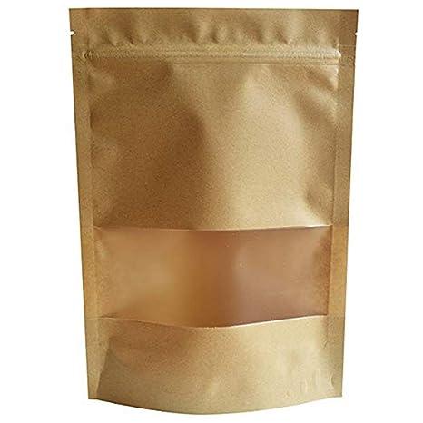 Cicony Stand Up Kraft Paper Bag con Ventana Transparente y ...