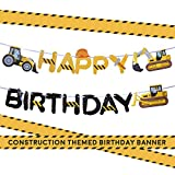 Construction Birthday Party Supplies Banner by Aliza   Baby Boy Toddler Kids Birthday Truck Decorations - Huge 8-feet Long Under Construction Decor - The Perfect Decoration for Your Party