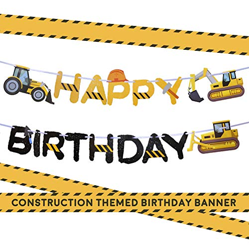 Construction Birthday Party Supplies Banner by Aliza | Baby Boy Toddler Kids Birthday Truck Decorations - Huge 8-feet Long Under Construction Decor - The Perfect Decoration for Your Party