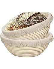 SODIAL 2 Packs 9 Inch Bread Proofing Basket - Baking Dough Bowl Gifts for Bakers Proving Baskets for Sourdough Lame Bread Slashing Scraper Tool Starter Jar Proofing Box