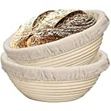 SODIAL 2 Packs 9 Inch Bread Proofing Basket - Baking Dough Bowl Gifts for Bakers Proving Baskets for Sourdough Lame Bread Slashing Scraper Tool Starter Jar Proofing Box