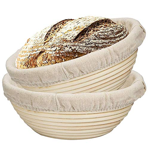 Lopbinte 2 Packs 9 Inch Bread Proofing Basket - Baking Dough Bowl Gifts for Bakers Proving Baskets for Sourdough Lame Bread