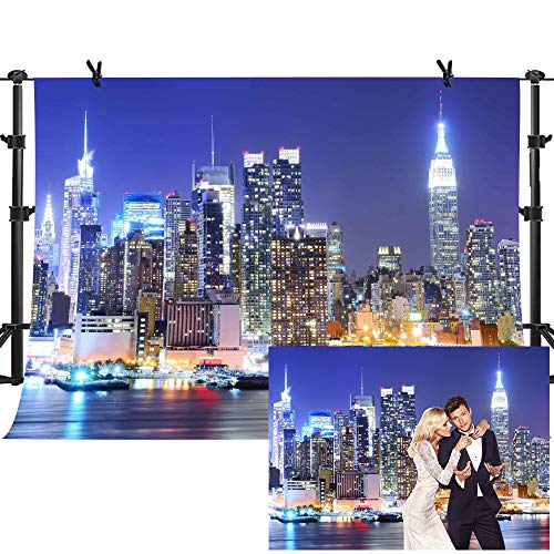 MME 10x7Ft New York City Backdrop Manhattan Night Scene Skyscraper Urban Light Background Video Studio Photo -