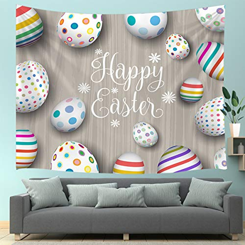 JAWO Happy Easter Tapestry Wall Hanging, Easter Eggs on Gray