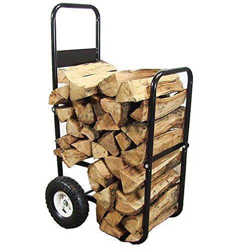 Sunnydaze Firewood Log Cart Carrier, Outdoor or Indoor Wood Rack Storage Mover, Rolling Dolly - Cart Firewood