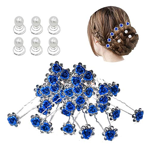 inSowni 40pcs Bridal Wedding Rhinestone Rose Flower U-shaped Hair Pins & 6pcs Twist Pearl Hairpins Headpiece Set in Gift Box for Women Girls Bridesmaid (Royal Blue -