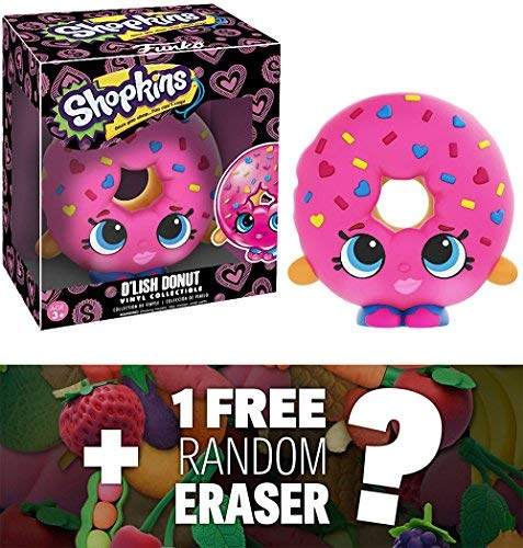 Japanese Mini Vinyl - Funko D'Lish Donut x Shopkins Vinyl Figure + 1 FREE Japanese Food Themed Mini-Eraser Bundle (07433)