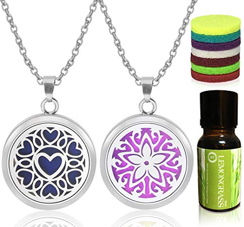 Bella Therapy Tree of Life Lotus Heart Star Flower Diffuser Bracelet Pendant Locket Jewelry, Stainless Steel 2PCS Sets Aromatherapy Essential Oil Gift Present (Star Flower/Heart Necklace Lemongrass)