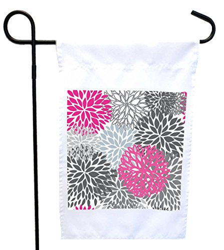 (Rikki Knight Floral Pinks and Greys Illustrated Design Design Decorative House or Garden Flag 12 x 18 Flag Size with 11 x 11 inch Image (Proudly Printed in The USA))