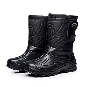 Quicksilk Men Fully Fur Lined Water Resistant Anti-Slip Outdoor Snow Boots Hiking Boots (10(M) B US, Black-B)