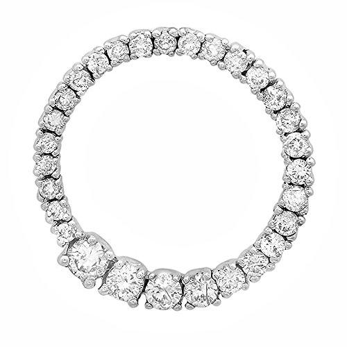 Birthstone Circle Journey Pendant - Dazzlingrock Collection 0.75 Carat (ctw) 14K Round Diamond Ladies Journey Circle Graduating Pendant 3/4 CT, White Gold